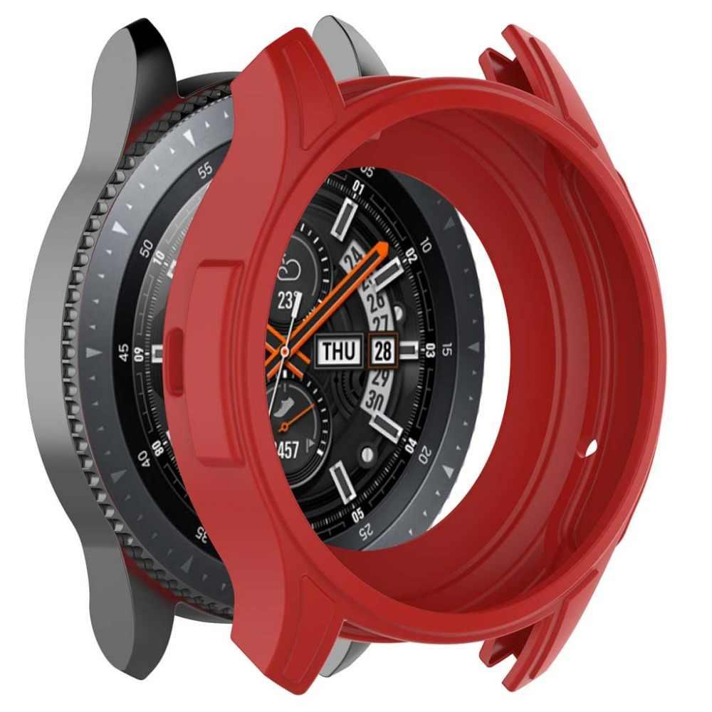 Silikonowa miękka powłoka rama ochronna skrzynki pokrywa skóra do Samsung Galaxy Watch 46mm Gear S3 Frontier