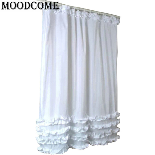 ruffles shower curtain 2017 new white Russia Europe polyester ...