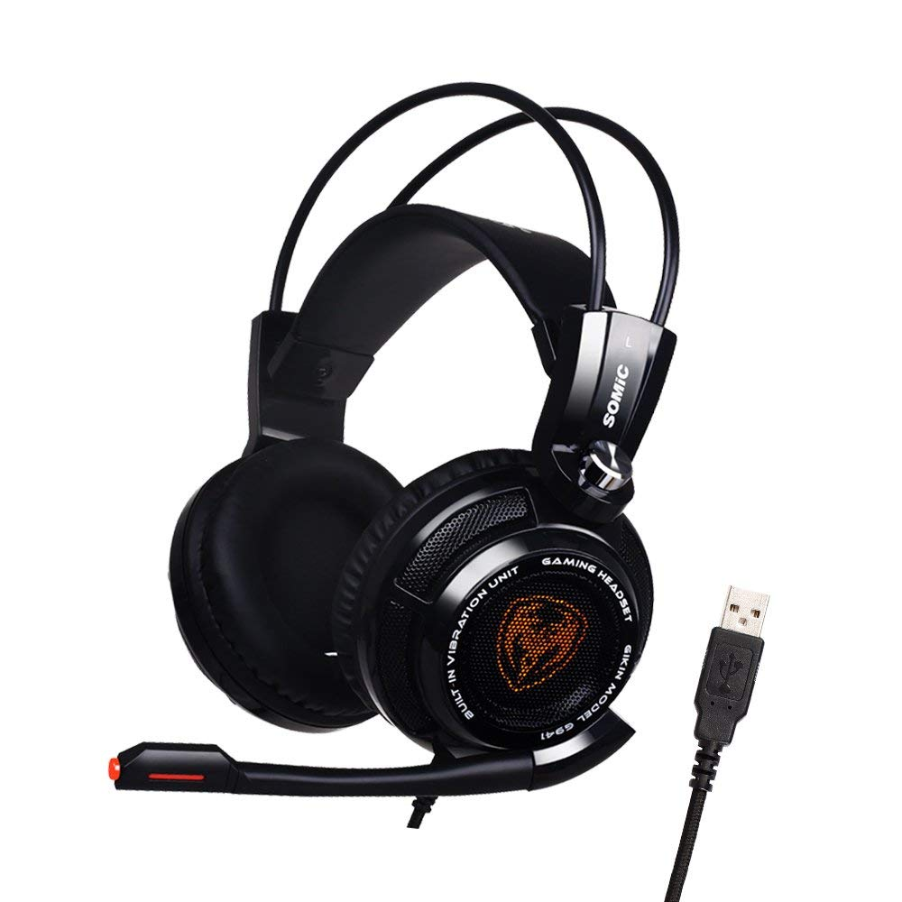Somic G941 USB Headphone 7.1 Virtual Surround Sound Gaming Headset With Vibrating Function Mic Voice Control цена
