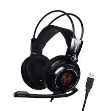 G941 sômica fone de Ouvido USB 7.1 Virtual Surround Sound Gaming Headset Com Função de Vibração Controle de Voz Mic
