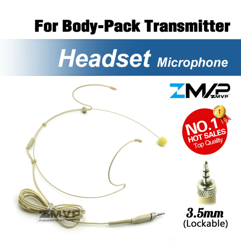 Free Shipping! Pro Headset Headworn Condenser Microphone For Sennheiser Wireless Body-Pack Transmitter 3.5 Mm Screw Locking Plug