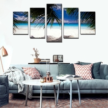 5 Piece Coconut Tree Beach Landscape Image Print Painting Modern of the Canvas Art Wall Decoration Home No Frame Custom