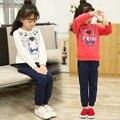 Весна Осень двух частей Детская одежда набор Тигр толстовка & casual спортивные брюки 3 4 5 6 7 8 9 10 11 12 лет девочки одежда