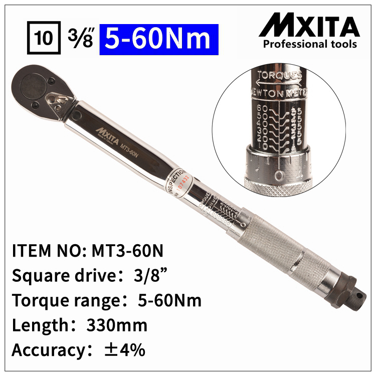 MXITA 3/8 5-60N Professional Adjustable Torque Wrench Bike Repair Tool Torque Spanner Tool hand tool set mxita 3 8 5 60n professional adjustable torque wrench bike repair tool torque spanner tool hand tool set