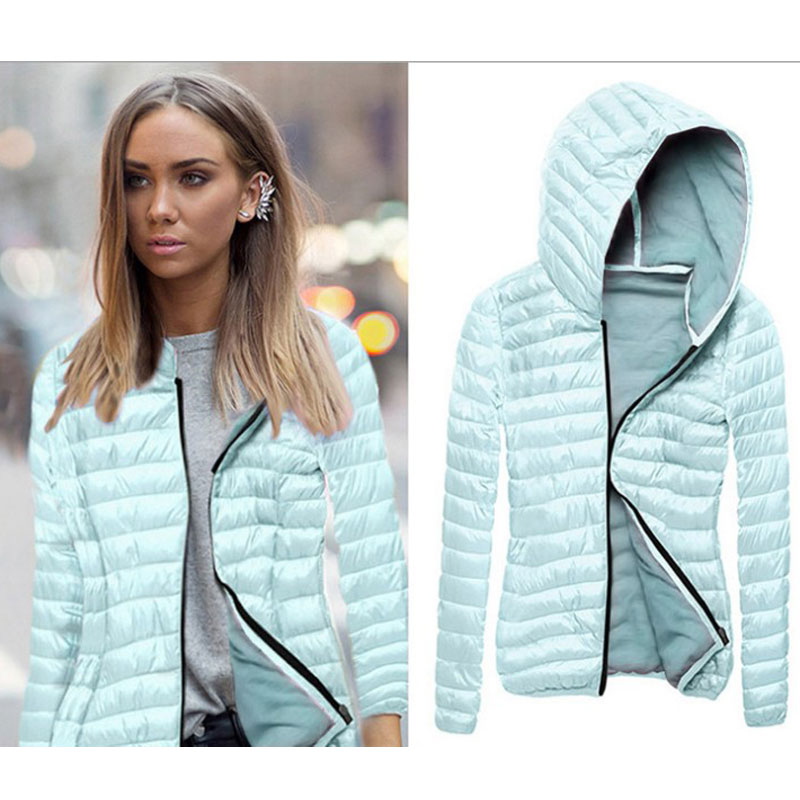 Light Slim Women Winter Autumn   Basic     Jacket   Casual Fashion Sexy Ladies Coats Zipper Women Hooded Female   Jackets   Outwear FJT599