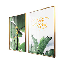 Metal Framed Painting Vintage Photo with Plexiglass Wall Picture Frame Living Room Decoration Print Poster Green Plants Monstera(China)