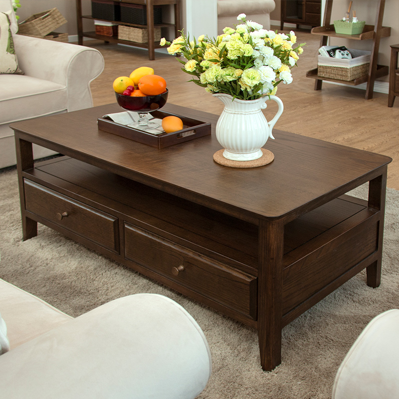 Red oak wood coffee table m american country logs