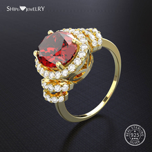 Shipei Genuine Ruby Ring Silver 925 Jewelry For Women Gold Wedding Ring Gemstone Engagement Anniversary Gift