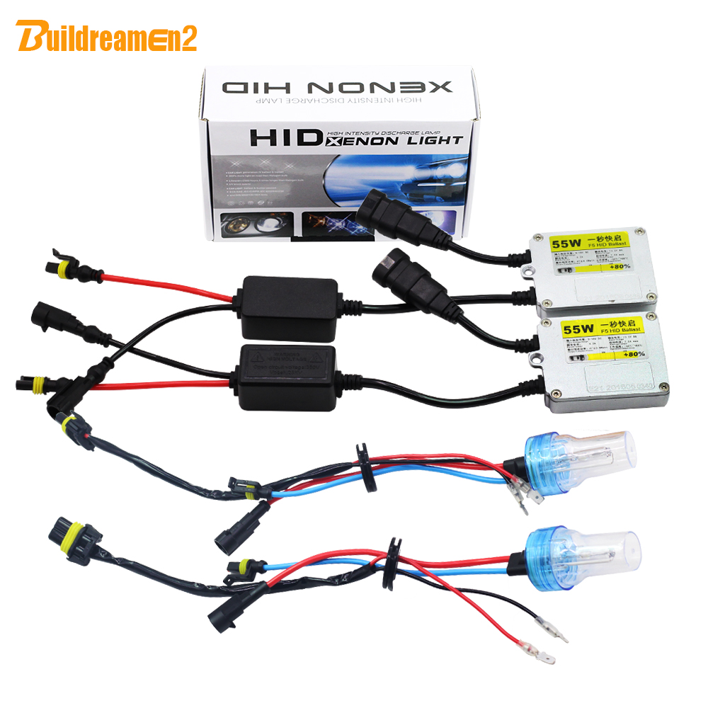 Buildreamen2 55W 9005 HB3 H10 Car Light HID Xenon Kit Ballast Bulb AC 3000K 4300K 6000K 8000K Automotive Headlight Fog Light DRL free shipping 100w 9005 h10 hb3 ac hid conversion kit 4300k 6000k 8000k 10000k 12000k car headlight light xenon super bright