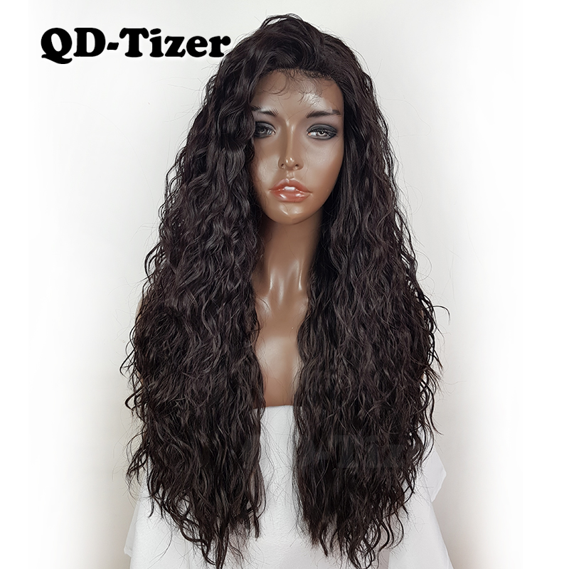 Qd Tizer Dark Brown Color Loose Curly Hair Synthetic Lace