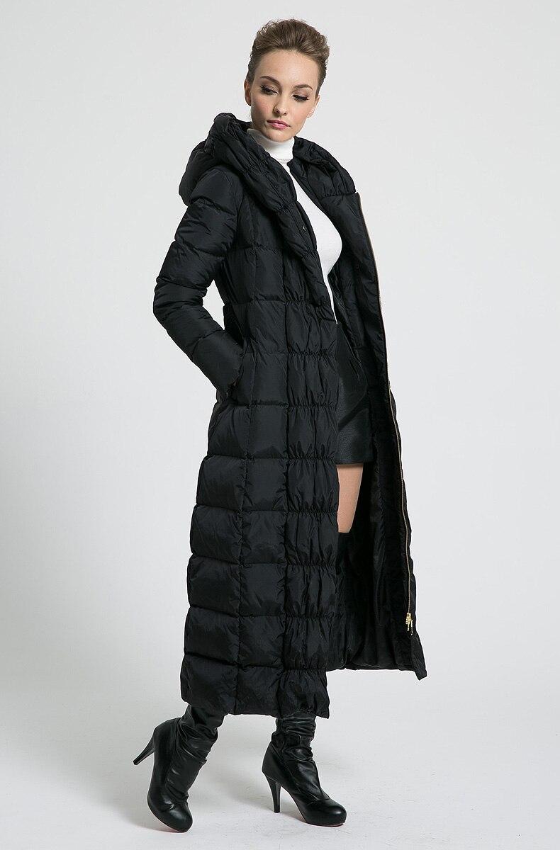 2018 nouveau femmes d'hiver Long down vestes à capuchon ceinture grande taille noir marine bleu plus la taille épaississement manteaux