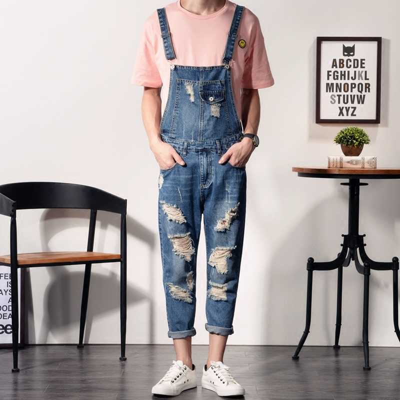 4cc4624f822a Fashion Skinny Ripped Jeans Men s Blue Overalls Jeans Male Denim Bib  Overalls For Men Slim Distressed
