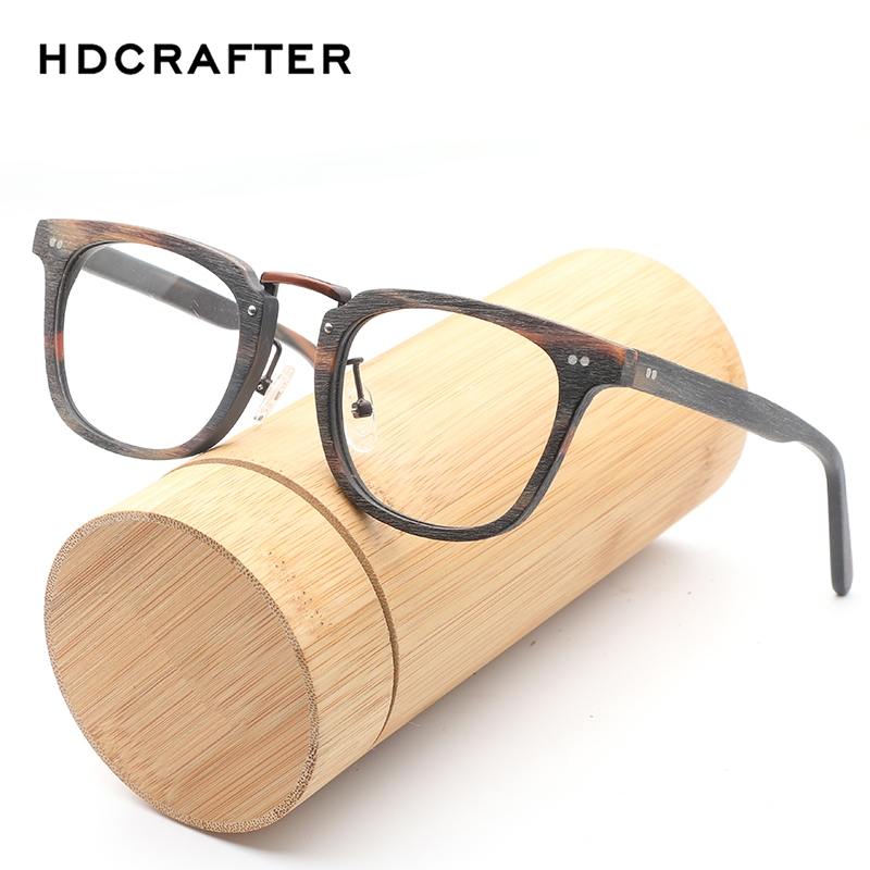 HDCRAFTE Retro Eyeglasses Frame Men Natural Wood Computer Optical Glasses Frames Women Wooden Transparent Lens Reading Glasses