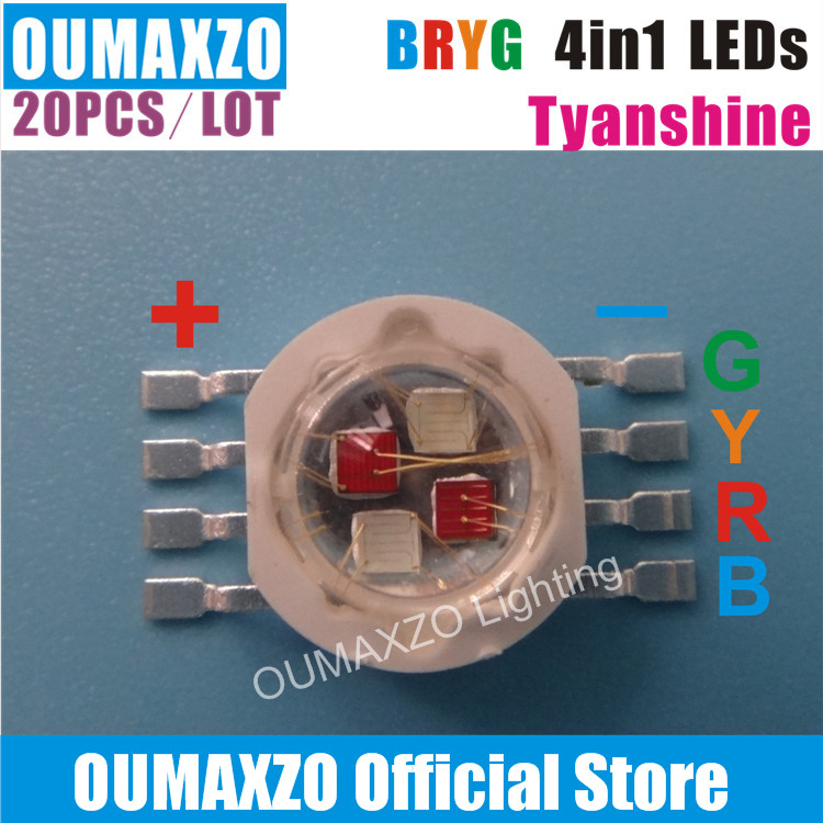 20pcs/lot TYANSHINE TIANXIN 4in1 BRYG 12W LED Bead Lamp 12W RGBA 4IN1 Led Lamp Beads Stage Lighting Special LED Light Bead