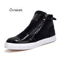 Glitter Snake Pattern Leather Sheet Metal Luxury High Top Shoes for men Loafers European Male Designer Banquet Prom Dress Shoes