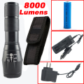 8000Lumens Flashlight CREE XML-L2 LED Flashlight High Power Torch Zoomable Lantern + 1*18650 Battery + Charger+Holster Holder