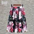 2016 mujeres calientes de la venta de lujo impresión floral de la llamarada faldas una línea de falda plisada faldas largas jupe femme saia envío gratis LT472