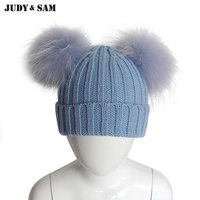 Cute Real Fur Ball Children Winter Knit Beanies Caps With Real Raccoon Fur Pompom Children Hat