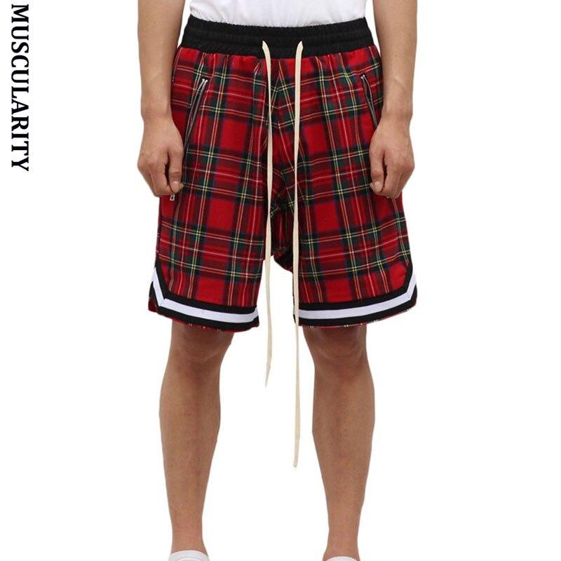 MUSCULARITY Shorts Street Pants Scotland Quick-Drying Striped Men's Lattice Loose Comfortable