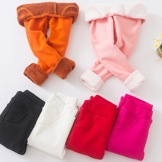 2018 New Kids Winter Pants For Girls Leggings Candy Color Girl Warm Long Pants Girls Velour Thick Child Trousers For Teenagers