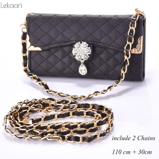 2 Chains Las Handbag Case For Iphone 7 8 Plus Cover Leather Wallet Flip