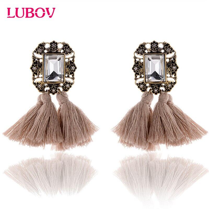 2018 Double Tassel Rhinestone Decoration Metal Stud Earrings Women Crystal Stone Piercing Earrings Fashion Jewelry for