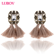 2018 Double Tassel Rhinestone Decoration Metal Stud Earrings Women Crystal Stone Piercing Earrings Fashion Jewelry for Christmas
