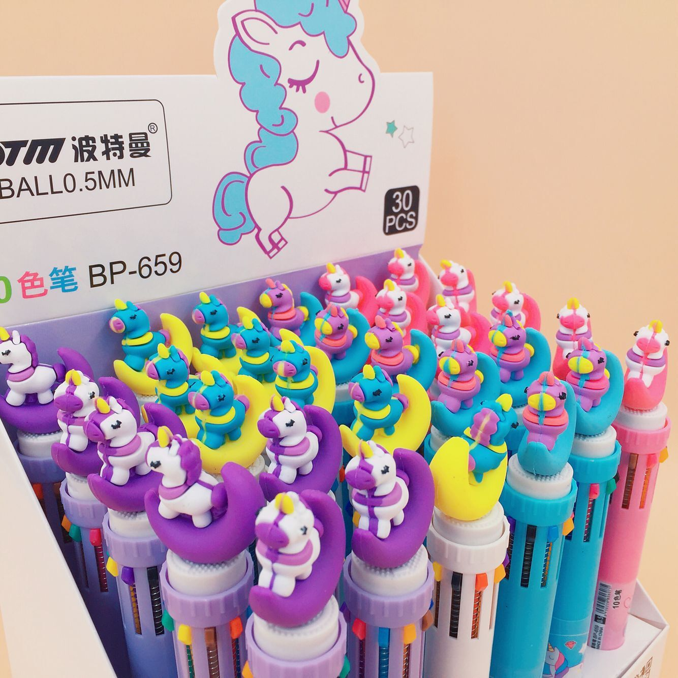 30pcs/1lot Kawaii Ballpen 6color Cartoon Unicorn Animals Ballpoint Pens School Stationery Writing Supplies Office Supplies 0.5mm