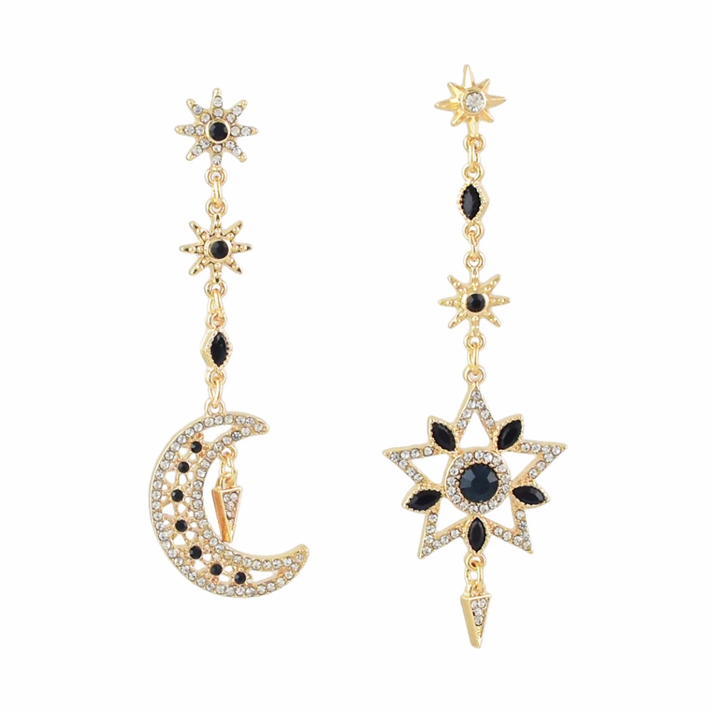 Idealway Shiny Ladies Star Moon Crystal Statement Long Drop Dangle Earrings for Women Gril Party Gift Wholesale brincos grandes