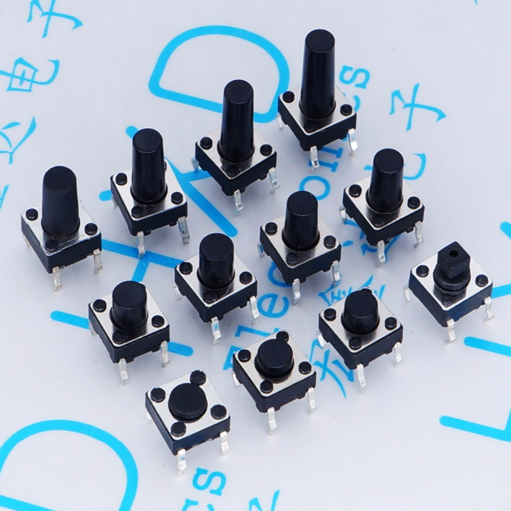 Micro Switch 12V 0.1A 6*6*4.3H/5/6/7/7.3/8/9/9.5/10/11/12/13/14mm DIP Tact Switch legs small button for Induction Cooker 6x6xl 5 6 7 8 9 10 11 12 13 14 15 16 17 18mm 4pin tactile tact push button micro switch direct plug in self reset dip