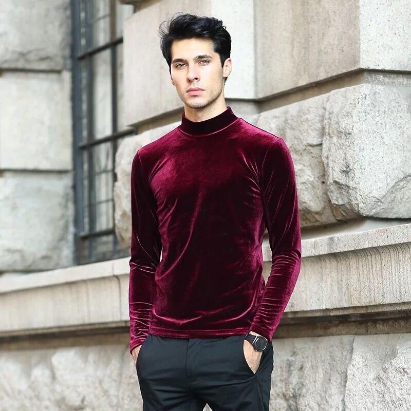 2020 Autumn Brand Good Quality Men's Velvet Shirts,plus Size Fashion Men Velour Blouse Winter Turtlenecks Shirt M-6XL 7XL