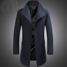 Men Cashmere Coat Winter Casual Men Wool Trench Double Botton Jackets Warm Pockets Overwear Camel Dark Gray Black M-3XL Blends cheap NoEnName_Null Acetate Polyester COTTON Full Long Turn-down Collar Solid Single Breasted STANDARD NONE REGULAR 5463464 Broadcloth