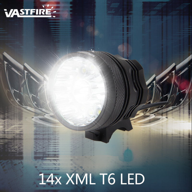 3 Color 14 LED lamp beads <font><b>7000</b></font> <font><b>Lumens</b></font> Bike <font><b>Light</b></font> Cycling <font><b>Light</b></font> <font><b>Bicycle</b></font> <font><b>light</b></font> Battery needs to be purchased separately image