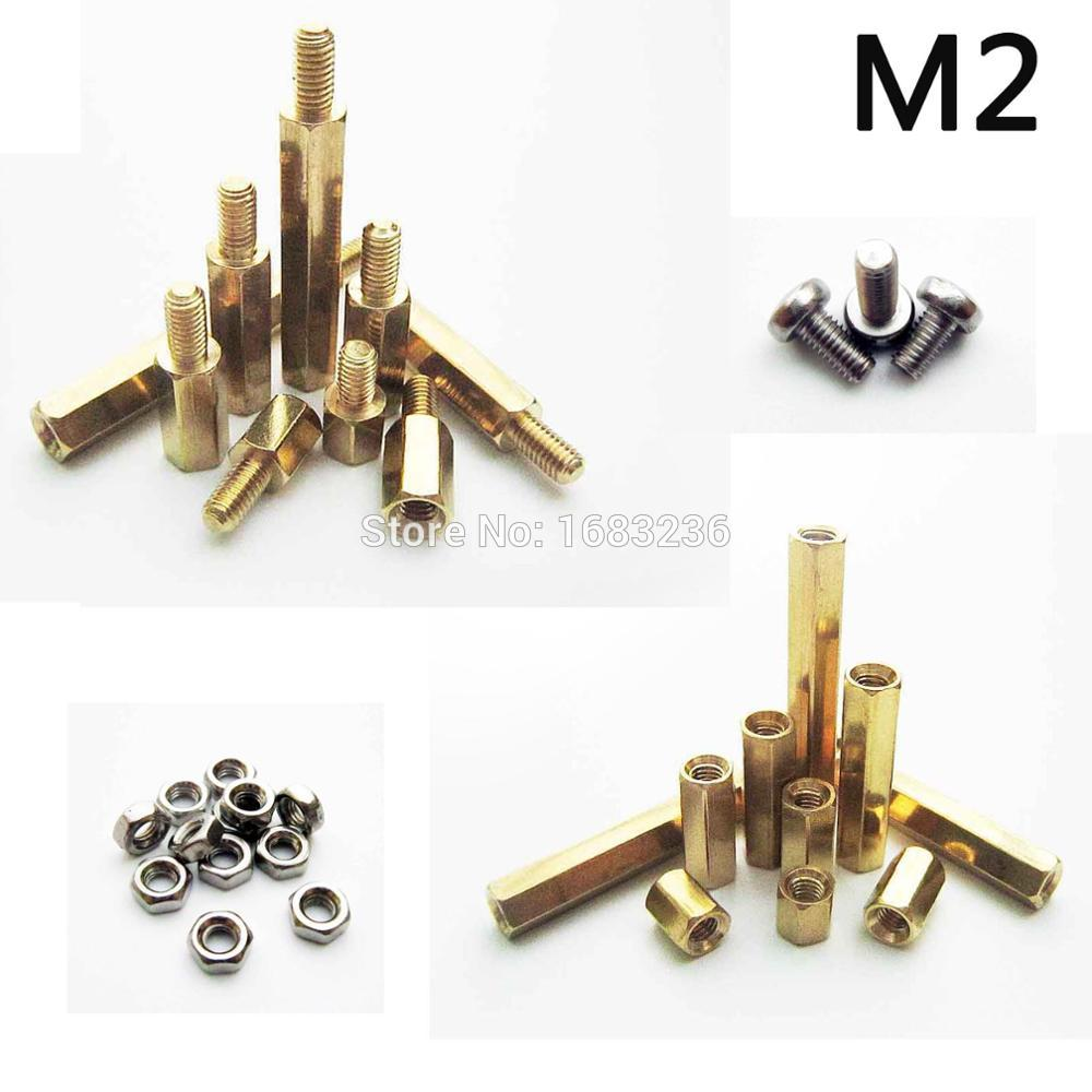 25pcs Solid Brass Pure Copper M2 Hex Column Standoff Support M F Circuit Board Pcb Holder Nylon Spacers Plastic 50pcs M2x4 20 3mm Male Female