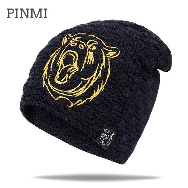 PINMI 2017 бренд шапка мужская зимняя высокое качество вязаная шапки мужские осенние толстые теплые шапка для мужская мода повседневный на открытом лыжные шапки новые мужская skullies beanies