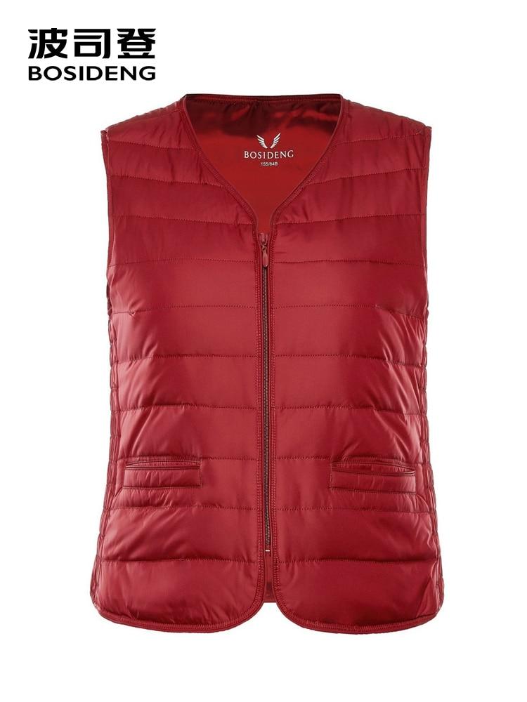 BOSIDENG Early Winter Down Vest For Women 90% Duck Down Waist Coat High Quality Plus Size B80130008B
