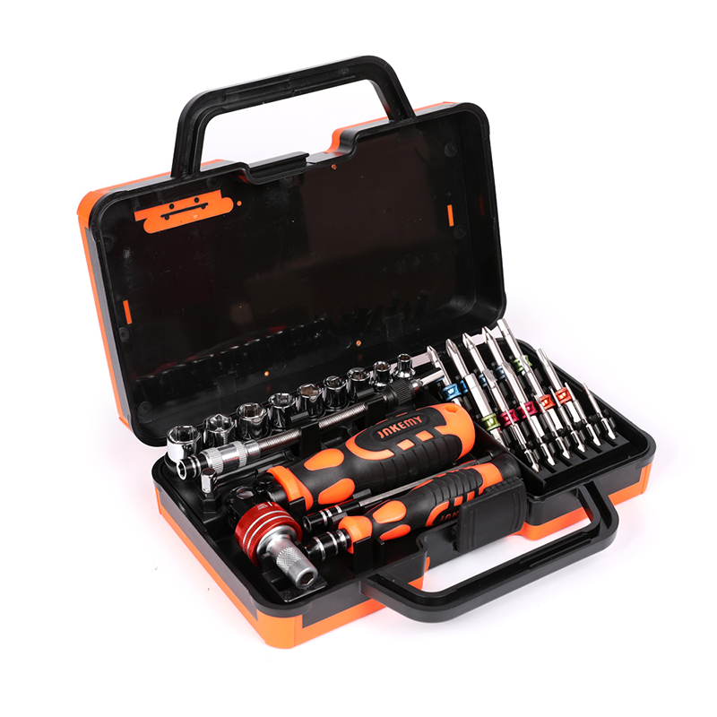Jakemy Colorful rings repair sets of multi-angle ratchet screwdriver set home car tools multifunctional hand tool set 46pcs 1 4 inch high quality socket set car repair tool ratchet set torque wrench combination bit a set of keys chrome vanadium