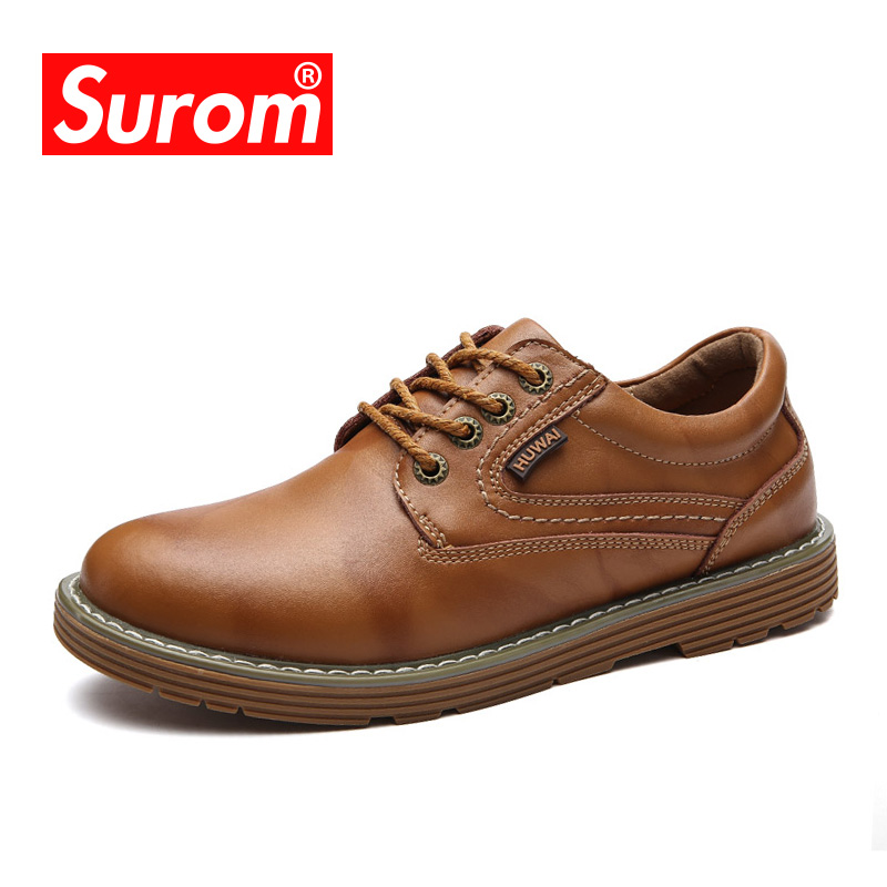 SUROM Leather Shoes Men Brand Fashion Casual Male High Quality Lace Up Non-slip Flats Shoes Breathable Soft Multicolor Optional branded men s penny loafes casual men s full grain leather emboss crocodile boat shoes slip on breathable moccasin driving shoes