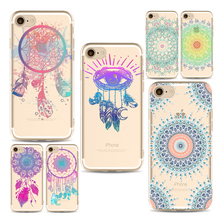 Красочные мандала цветок телефона Чехлы для iPhone 6 6S 6 Plus 7 7 s 7 Plus Мягкие TPU кремния Ультра -Тонкий Замечательный Телефон Чехол