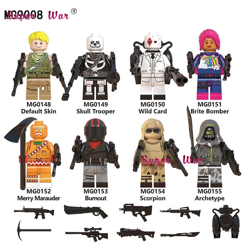 50pcs Building Blocks Default Skin Skull Wild Card Brite Bomber Merry Marauder Bumout Scorpion Archetype toys