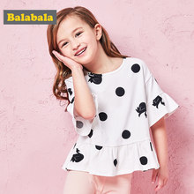 Balabala Summer T Shirt for girls pure cotton flare Short Sleeve Baby Girls T-Shirts Children's T-Shirt O-Neck Tee Tops Clothes(China)