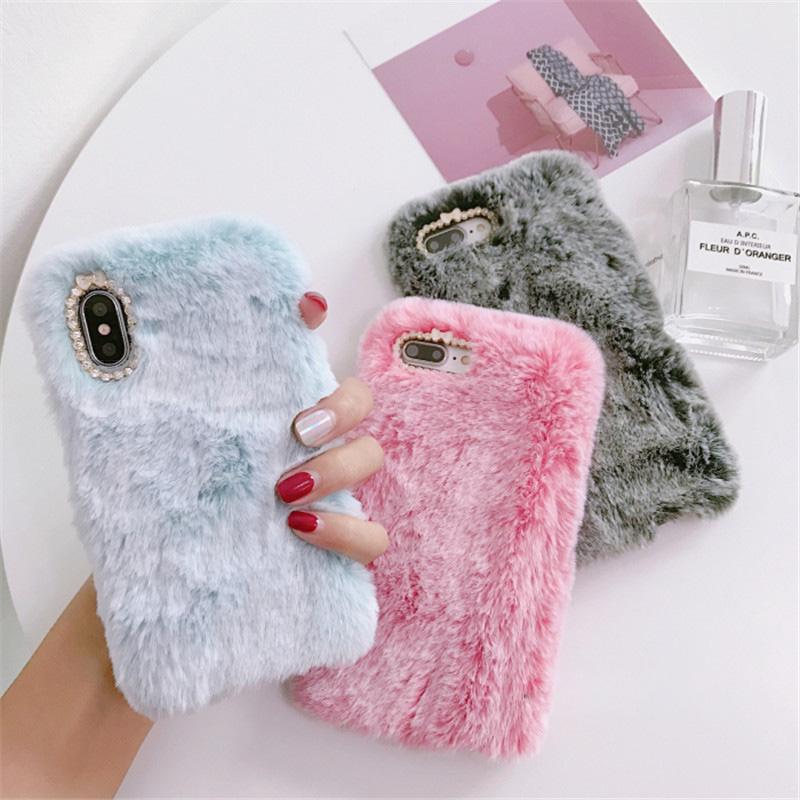Fluffy Iphone X XS XS Max XR Winter Warm Rabbit Fur Hairy Fuzzy Plush Apple Iphone 6 6S Plus 7 7Plus 8 8Plus