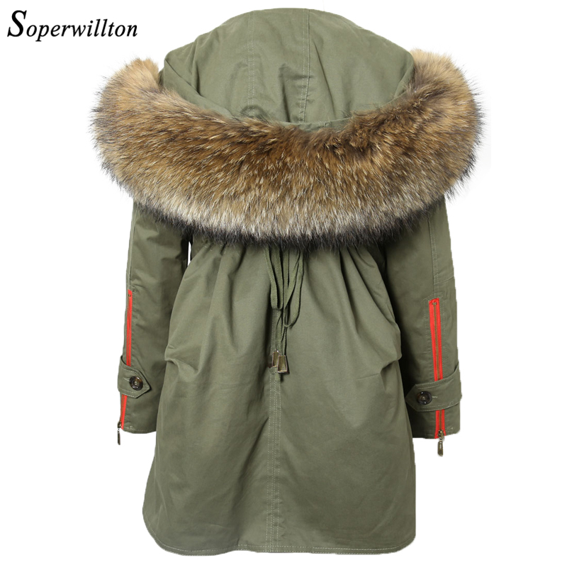 Winter Jacket Women Thick Parkas Real Fur Coat Large Raccoon Fur Hooded Jackets Long Parkas For Women 2018 Black Army Green #J2