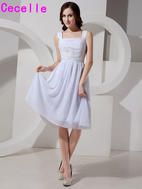 f94ab7fe0 Short Chiffon Beach Cocktail Dresses A-line White Juniors Graduation Prom  Party Dresses With Straps Informal Robe De Cocktail