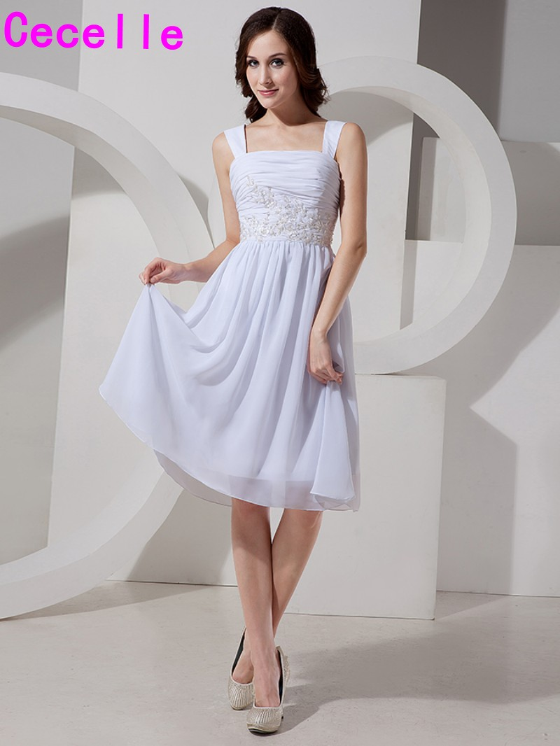 Short Chiffon Beach   Cocktail     Dresses   A-line White Juniors Graduation Prom Party   Dresses   With Straps Informal Robe De   Cocktail