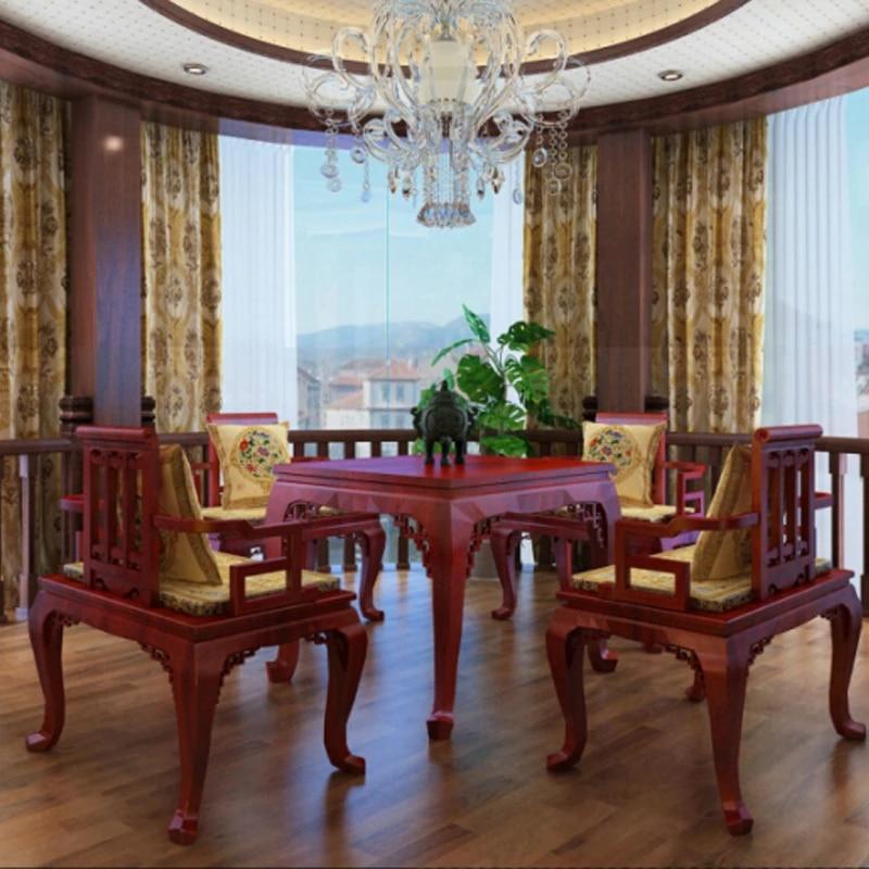 ensemble de meubles de maison en bois de rose 1 table et 4 chaises salon salle a manger bureau fauteuil annatto bois massif sculpte