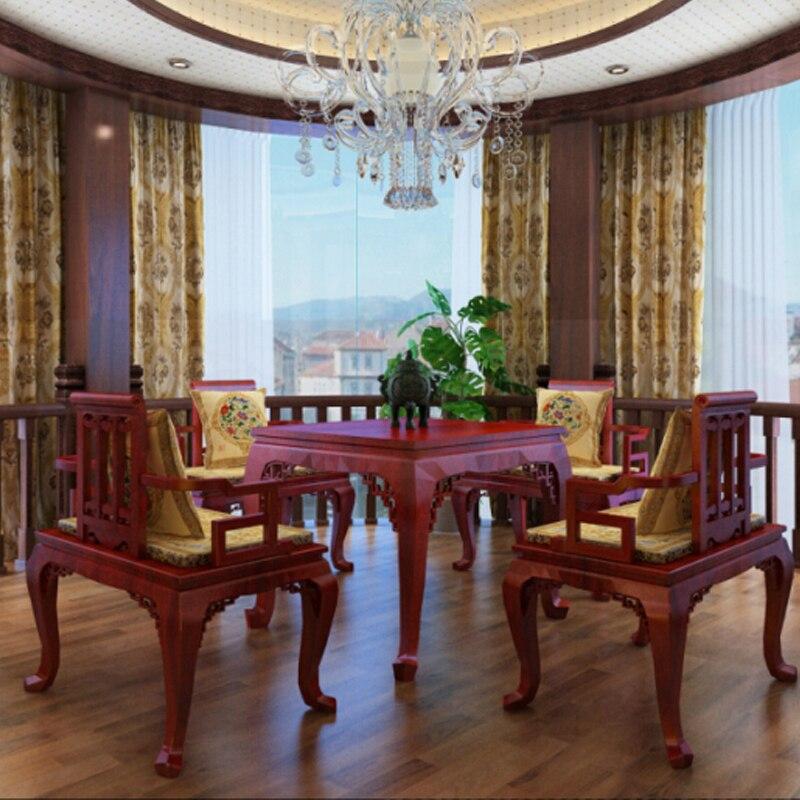 US $901.55 5% di SCONTO|Mobili Per La Casa in legno di palissandro Set 1  Tavolo e 4 Sedie Soggiorno Sala da pranzo in legno di Sequoia Scrivania ...