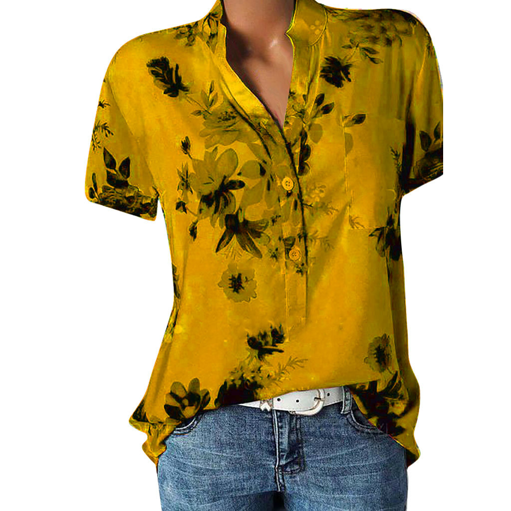 Floral Print Blouse Women Shirt Short Sleeve Blouse Button V-neck Shirts Casual Tops Blouse <font><b>Sexy</b></font> Femme Blusa <font><b>Mujer</b></font> Plus Size <font><b>5XL</b></font> image
