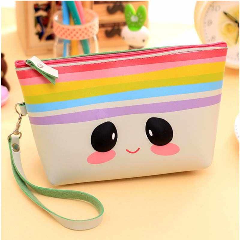 Bolso cosmético de dibujos animados de expresión linda del arco iris bolso de maquillaje mujeres bolsos de cuero de PU paquetes B0016