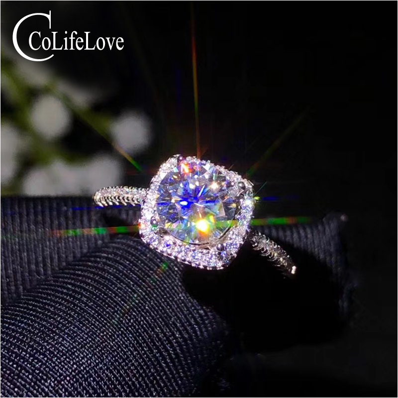 CoLife Jewelry Classic Moissanite Wedding Ring for Woman 1 Ct IF Grade Moissanite 925 Silver Engagement